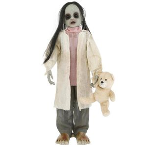 3 ft. Animated Zombie Girl with Teddy Bear and LED Eyes Halloween Decoration Outdoor Party Kids for Sale in Temple City, CA