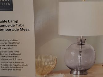 Brand New Scott Living Table Lamp 26in Smoke Glass White Linen Shade 3 Way Switch Today Only $20 for Sale in Auburn,  WA