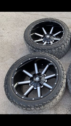 22x12 Black off road Rims and 33x12.50r22 Tires ! 6 Lug 22s Wheels will fit Ford F150, Dodge Ram 1500 , Chevy Silverado , GMC Sierra , Nissan Titan , for Sale in Dallas, TX