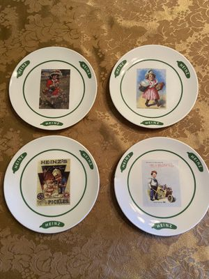 Set of four Heinz dessert plates with vintage labels (company gift) for Sale in Pittsburgh, PA