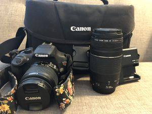 Canon EOS Rebel T5 DSLR Two Lens Kit with EF-S 18-55mm IS II and EF 75 for Sale in Newport Beach, CA