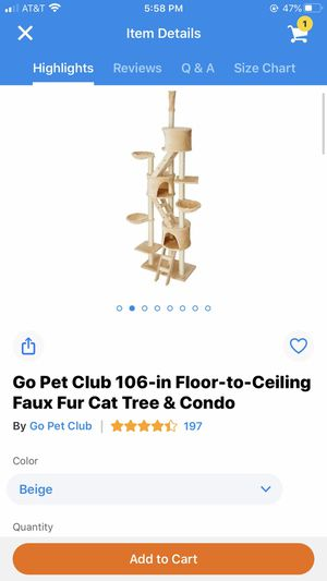 Go Pet Club 106 in Floor to Ceiling Faux Fur Cat Tree and Condo for Sale in Stanton, CA