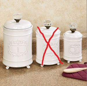Circa White Ceramic Kitchen Canister Set ONLY #1 and #3 canisters available in SET for Sale in Murrieta, CA