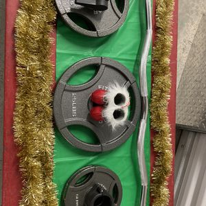 Beautiful Curl Bar 2/25 , 2/10,2/5 Olympic Plates for Sale in Queens, NY