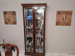 Lighted Curio Cabinet Dark Cherry Wood Glass Display Case Vitrina con luz for Sale in Miami, FL