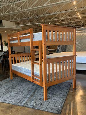 Twin over twin Light espresso bunk bed plus Twin plush mattresses for Sale in Tulsa, OK