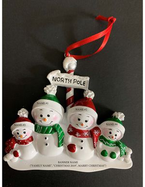 North Face Snowmen Family of 4 Personalized Christmas Tree Ornament for Sale in Herndon, VA