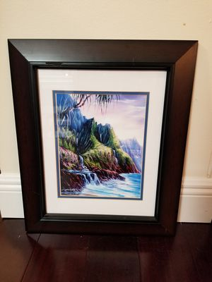 "Framed signed Napali Romance Hawaii painting 15"" x 18"" for Sale in West Palm Beach, FL"