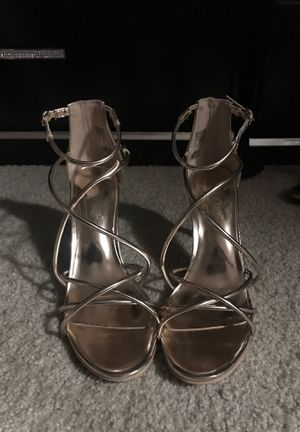 Rose gold heels. The brand is Brash and is a size 6 1/2. Worn once. Excellent condition for Sale in Manteca, CA