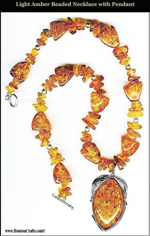 Light Amber Beaded Necklace with Pendant for Sale in Houston, TX