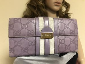 GUCCI GUCCISSIMA WEB Leather ISLAND LILAC LONG Wallet for Sale in Douglasville, GA