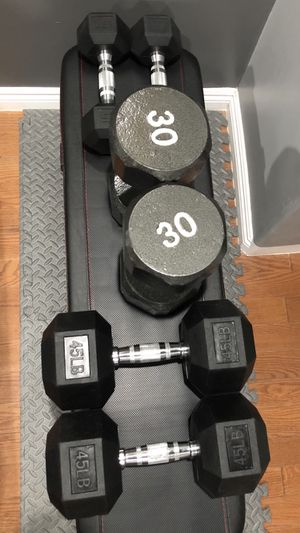 Marcy Flat Bench and pairs of 45lbs, 30lbs, and 15lbs dumbbells for Sale in San Gabriel, CA