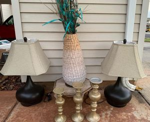2 lamps, big vase step stool and 3 candle holders for Sale in Kapolei, HI