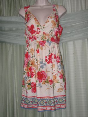 ANGIE Beige Cotton Empire Waist Floral Sundress Women's Size M for Sale in Los Angeles, CA