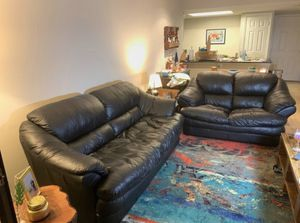 2 black leather couches- love seat and sofa for Sale in Arlington, VA
