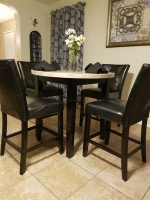 Counter Height Marble Top With Espresso Base And Its 4 Matching Chairs ***Delivery is Available ** for Sale in Helotes, TX