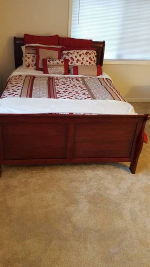 Brand New Full Size Cherry Wood Sleigh Bed Frame for Sale in Silver Spring, MD