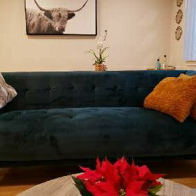 Velvet Forest Green Three Seater Couch for Sale in Alameda, CA