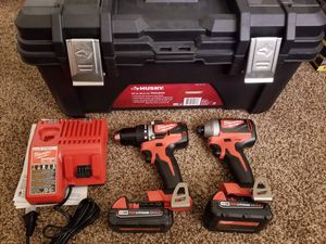 Milwaukee M18 Brushless Cordless Compact Drill/Impact Combo Kit (2-Tool) W/ (2) 2.0Ah Batteries, Charger & Husky Tool Box for Sale in Modesto, CA