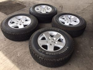 """JEEP WHEELS 5-127 17"""" plus tires 90% tread firestone 235-75-17 AT for Sale in San Diego, CA"""