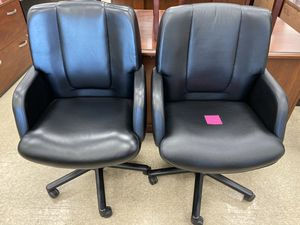 (4) Vecta Real black leather commercial grade office chairs for Sale in Columbus, OH