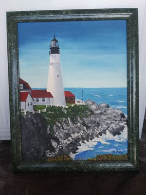 A. Mang portland lighthouse painting for Sale in Fort Meade, FL