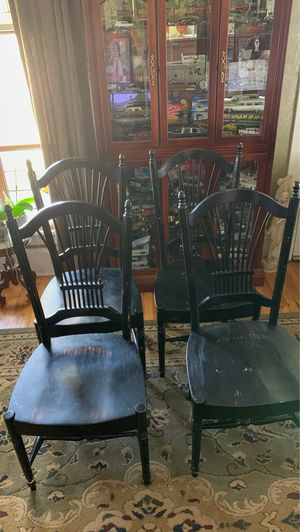 Four matching black distressed look chairs for dining table or kitchen for Sale in Portsmouth, VA