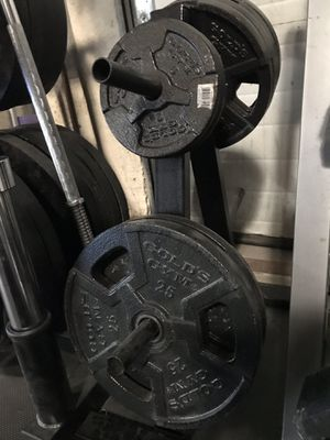 Curling bar and weights for Sale in Gaithersburg, MD