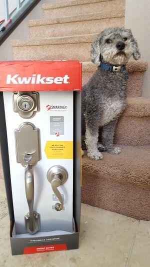 Kwikset nickel front door handleset lock for Sale in Corona, CA