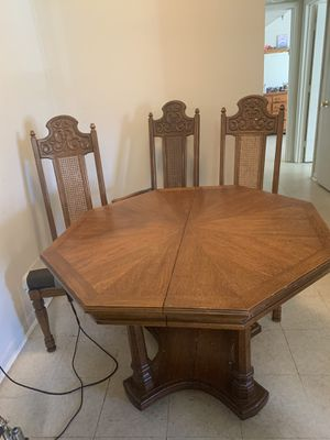 Oak wood table with chairs for Sale in Bedford, VA