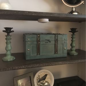 3 piece teal decor set chest w/2 candle holders for Sale in Kaysville, UT