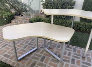 YOU GET 2! Work Bench Height n' Computer Desk/Surface/Table(s) w/ Blonde Oak Kidney/Boomerang Quality/Style Steel Legs Industrial/Architectural/Loft for Sale in San Diego, CA