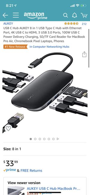 USB C Hub AUKEY 8 in 1 USB Type C Hub with Ethernet Port, 4K USB C to HDMI, 3 USB 3.0 Ports, 100W USB C Power Delivery Charging, SD/TF Card Reader fo for Sale in El Monte, CA