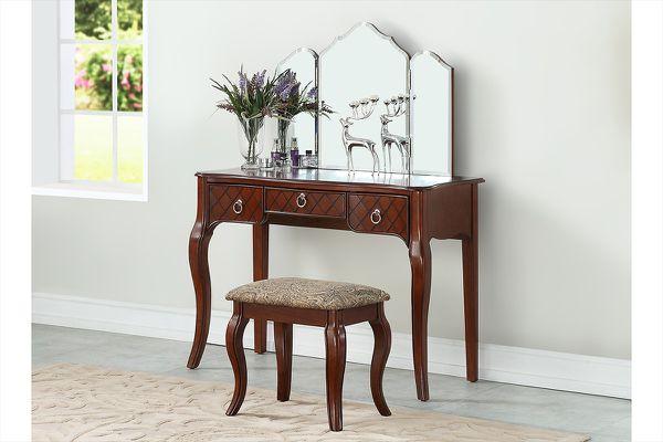 📣🔥🔥Lavish Cherry Wooden Vanity Set With Stool🎉🔥🔥