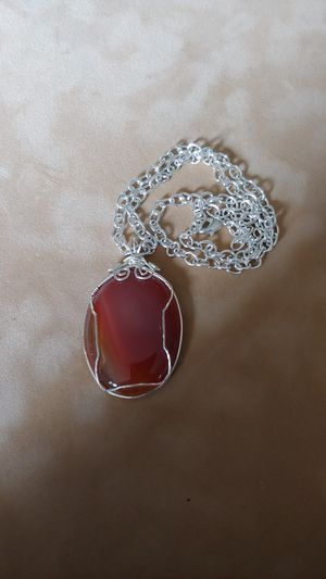Amber Silver Wire Wrapped Pendant Necklace for Sale in Marysville, WA