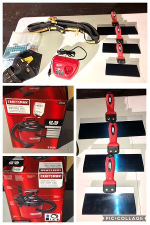 2.5 gallon wet dry portable shop vac, blue steel drywall knifes, CLC drill holster, toughbuilt tool belt, Milwaukee m12 charger for Sale in San Diego, CA