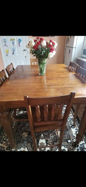 Kitchen table 6 chairs hard wood for Sale in Maywood, IL