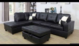 Black, Sofa Sectional with storage ottoman (New) for Sale in San Leandro, CA