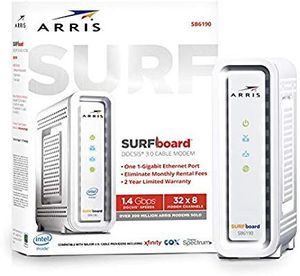 New ARRIS SURFboard (32x8) Docsis 3.0 Cable Modem, Certified for Xfinity, Spectrum, Cox, Cablevision & More (SB6190 White) for Sale in Carlsbad, CA