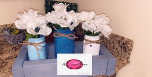Handcrafted distressed wide-mouth white mason jar vases with/faux greenery or flowers. Made by order 32oz jars for Sale in Bakersfield, CA