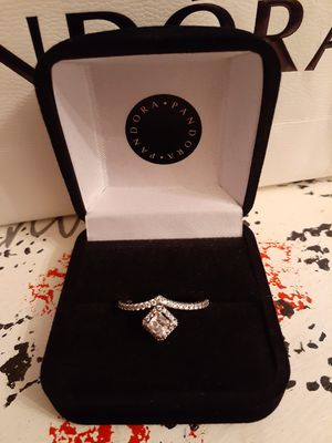New silver square sparkle pandora ring for Sale in Philadelphia, PA