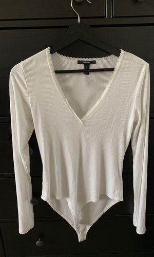 Forever 21 semi deep v white long sleeve body suit (medium) for Sale in Arlington, VA