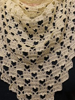Beautiful Handmade Mini ♥️ Pattern Crocheted Shawl/Scarf In Pastel Yellow for Sale in Chicago,  IL