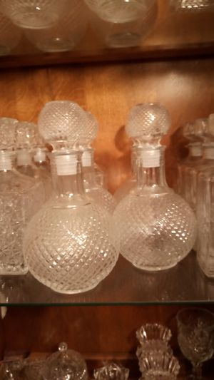 Round pressed glass decanters for Sale in Houston, TX