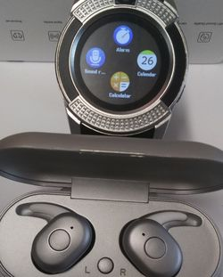 V Series Silver/Black Smart Watch + DT1 Silver Wireless Earbuds for Sale in Oklahoma City,  OK