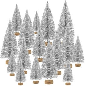 48 Pcs Mini Christmas Trees Bottle Brush Trees Tabletop Model Trees for Christmas Decoration DIY Room Decor Diorama Models (Silver) for Sale in Henderson, NV