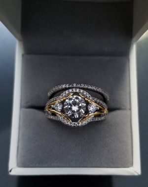 2pcs White & Yellow Gold Over S925 Sterling Silver VVS Lab Diamond Ring Set Size 6,7,8,9 for Sale in Aspen Hill, MD