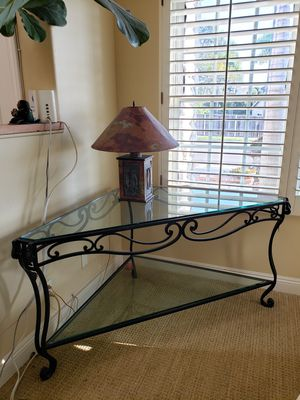 Beautiful wrought iron corner table with glass for Sale in MONARCH BAY, CA