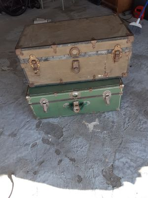 Old antique railroad trunks cargo boxes for Sale in Lancaster, CA