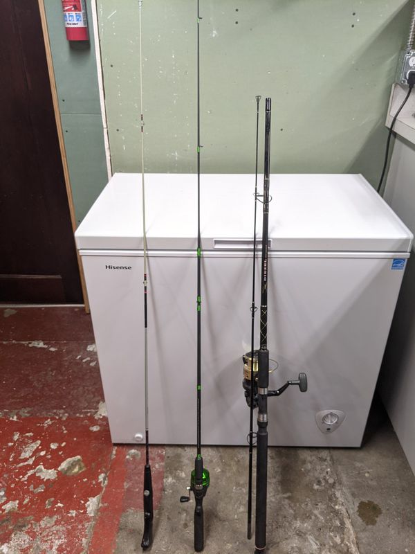 Three Fishing Poles with Two Reels